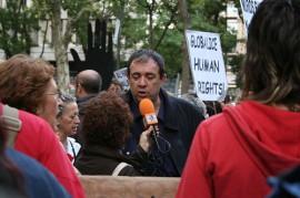 Manifestación contra las deportaciones de inmigrantes subsaharianos
