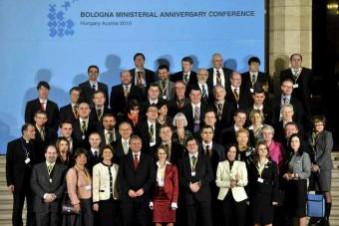 Participantes en la Conferencia ministerial Europea sobre el proceso de Bolonia, ayer, en Budapest (Hungría)