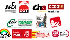 ADEA, CGT, CHA, CC.OO, CSIF, FABZ, FAPAR, IU, MHUEL, PSOE, STEA, UGT.
