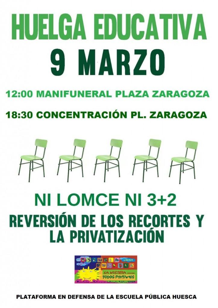 Cartel_HUESCA_huelga_9_marzo
