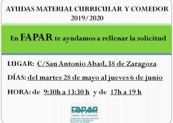 Horario atención FAPAR Becas 2019- 2020